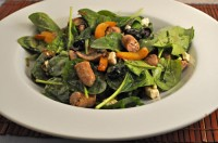 Spinach Salad with Sausages and Peppers
