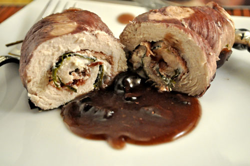 Turkey Rolls with Red Wine Goat Cheese Sauce