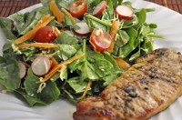 Spring Salad with Grilled Pork Chop