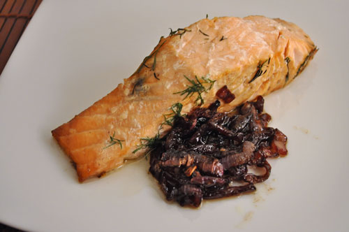 Grilled Salmon with Red Onion Confit