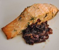 Grilled Salmon, Red Onion Confit