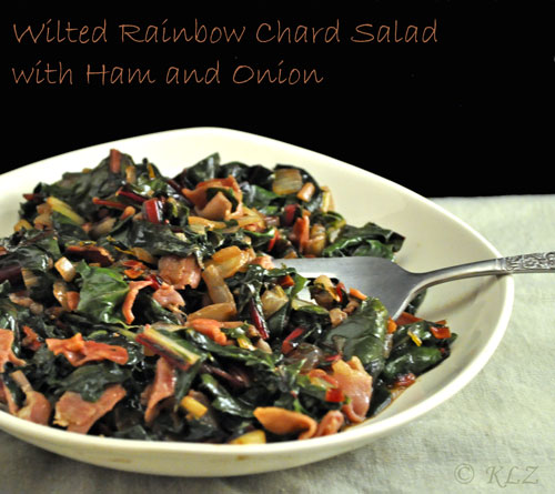 Wilted Rainbow Chard Salad With Ham And Onion