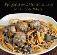 Spaghetti and Meatballs with Mushroom, Chard Sauce