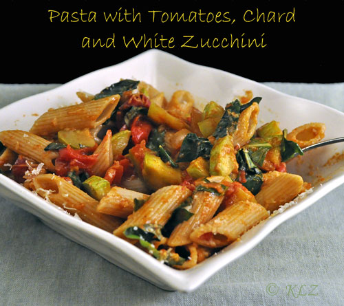 Pasta with Zucchini, Tomatoes and Chard