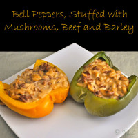Bell Peppers Stuffed with Beef Mushrooms, Beef and Barley
