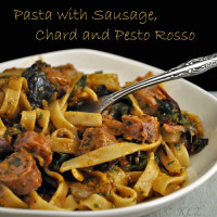 Pasta with Sausage, Chard and Pesto Rosso