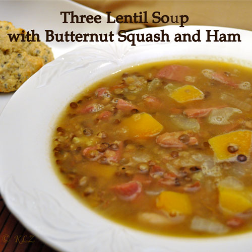 Three Lentil Soup with Butternut Squash and Ham