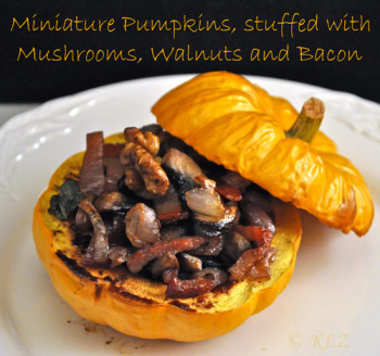 Miniature Pumpkin, Stuffed with Mushrooms, Walnuts and Bacon