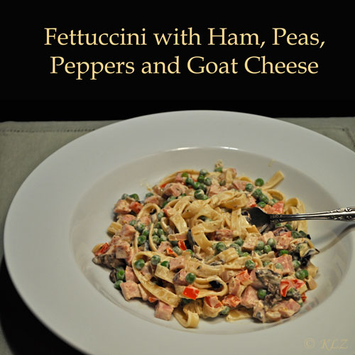 Fettuccini with Ham, Peas and Peppers