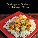 Shrimp, Scallops, Green Olives and Capers on Basmati