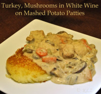 Creamed Turkey on Potato Patties