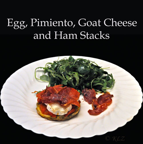 Egg, Pimiento, Goat Cheese and Ham Stacks