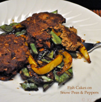 Fish Cakes with Peapods and Peppers