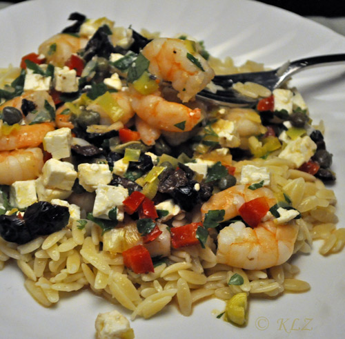 Shrimp with Capers, Feta and Lemon on Orzo