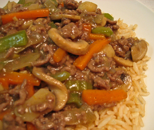 Stir Fried Ground Beef and Mushrooms