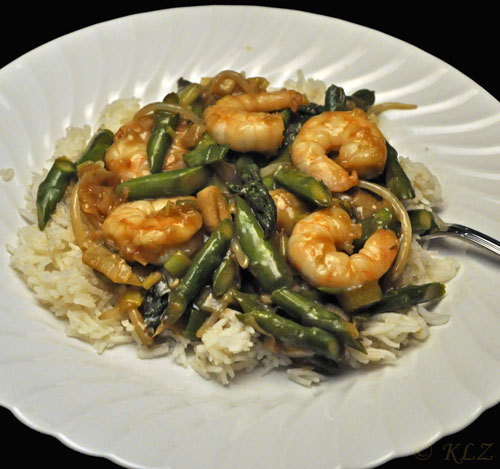 Stir-fried Shrimp with Asparagus and Green Garlic