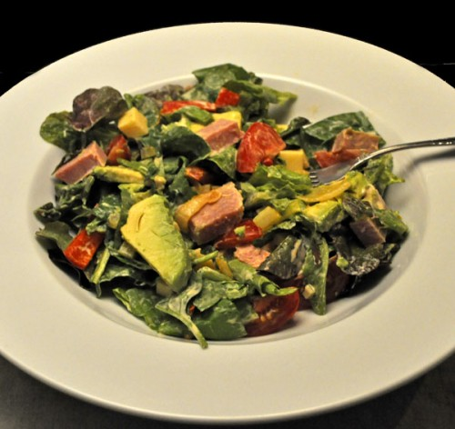 Spinach Salad with Ham and Avocado