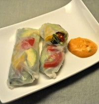 Avocado and Pimiento Summer Rolls