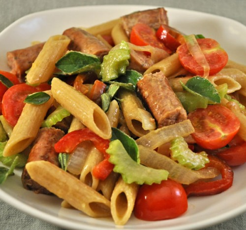 Pasta Salad with Sausage, Celery and Tomatoes