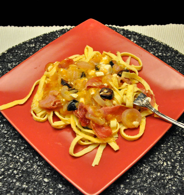Egg Noodles with Yellow Tomatoes