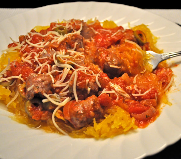 Spaghetti Squash with Duck Sausage