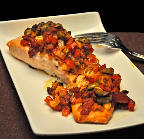 Baked Salmon with Peppers