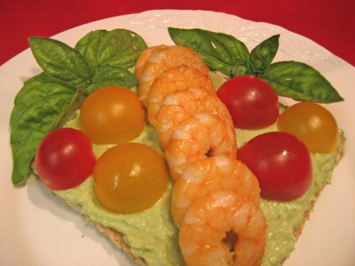 Shrimp Toast with Avocado Cream