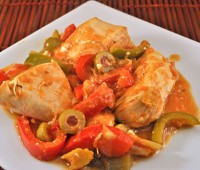 Skillet Chicken, Peppers and Olives