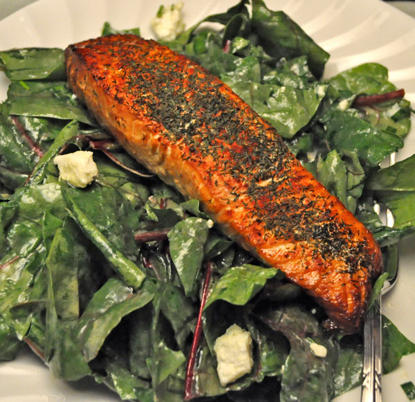 Salmon on Fresh Spinach