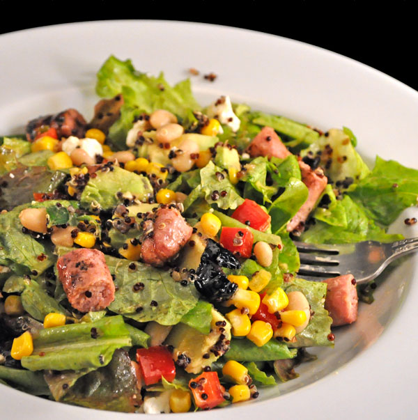 Southwestern Salad with Grilled Sausages; where's my day?