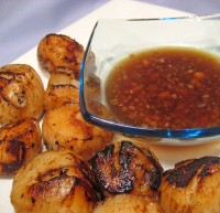 Grilled Scallops, Lemon Ginger Sauce