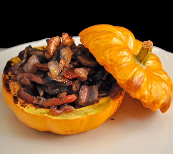 Pumpkin Stuffed with Bacon & Mushrooms
