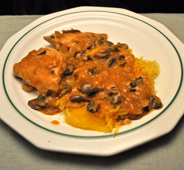 Chicken Breasts with Mushroom Sauce on Spaghetti Squash