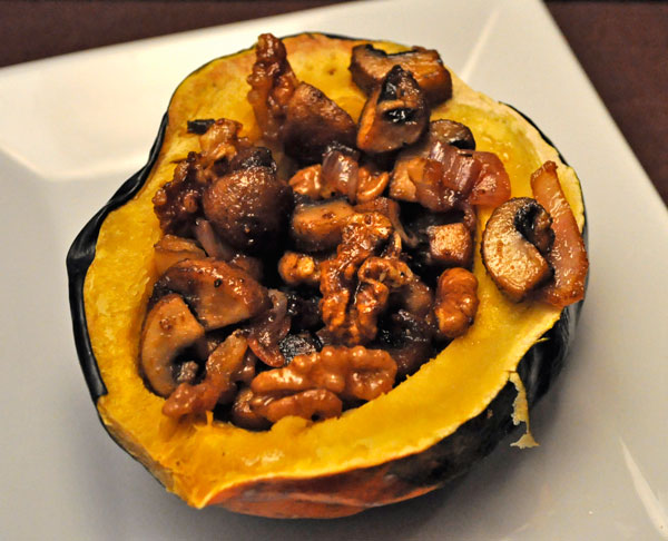 Acorn Squash Stuffed with Mushrooms and Walnuts
