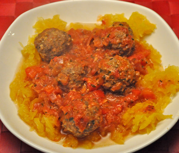 Ginger Meatballs on Spaghetti Squash