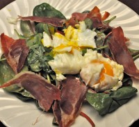 Spinach Salad with Poached Eggs