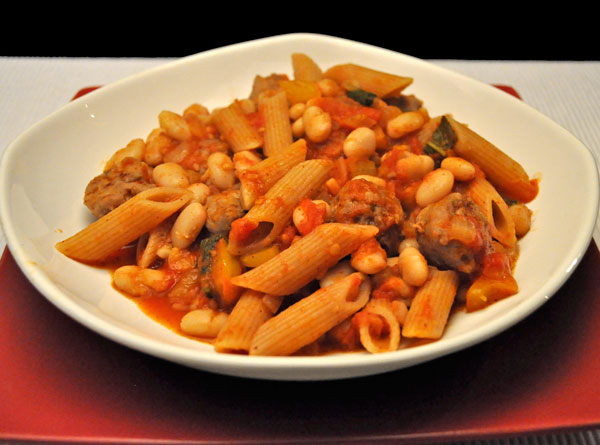 Pasta with Sausage, Sage and Beans