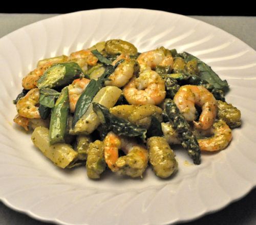 Pesto Shrimp with Asparagus and Gnocchi