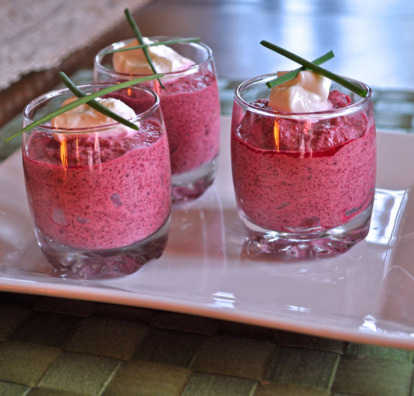 Verrine of Red Beet and Cream Cheese