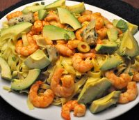 Warm Pasta Salad with Shrimp and Avocados