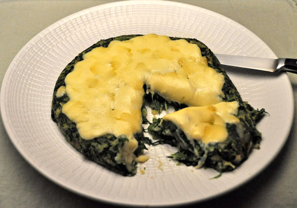 Cheesy Polenta Spinach Cake