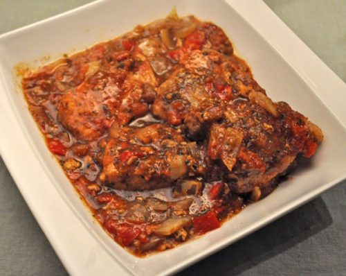 Slow Cooker Pork Chops with Peppers and Tomatoes