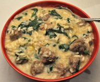 Risotto with Meatballs and Spinach