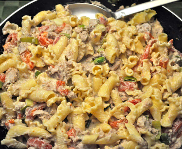 Skillet Tuna Pasta with Pimiento & Goat Cheese