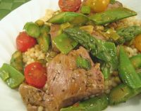 Lamb with Asparagus and Snow Peas
