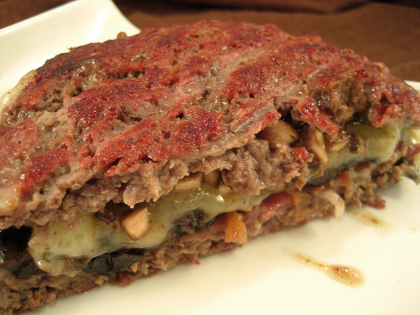Giant Burger Stuffed with Mushrooms