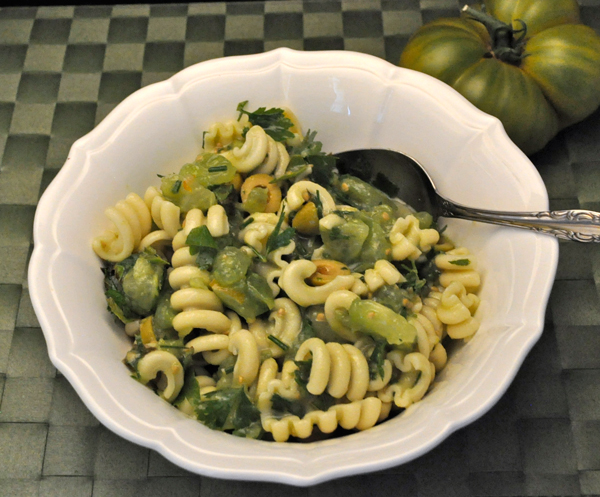 Pasta Salad with Green Tomatoes