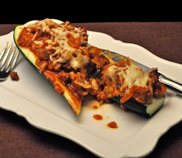 Chili Stuffed Zucchini