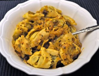 Tortellini with Green Tomato, Olive Sauce