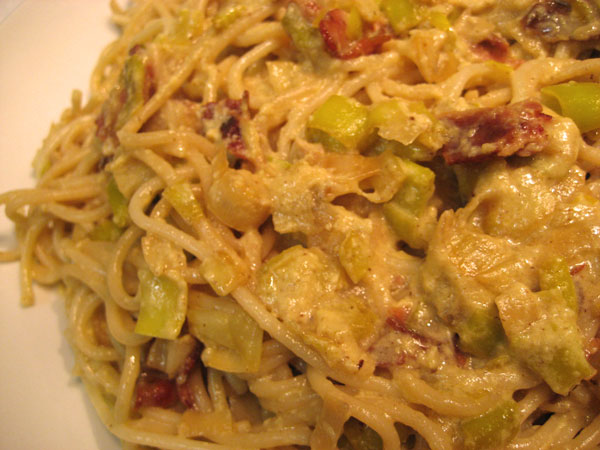 Bacon and Leek Spaghetti